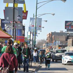 St. Patrick's Day revelers on Clark -