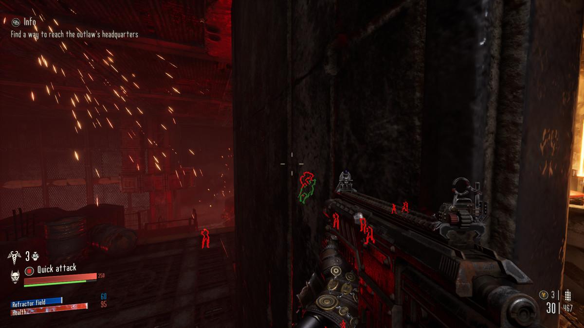 Necromunda: Hired Gun's red-contoured enemy