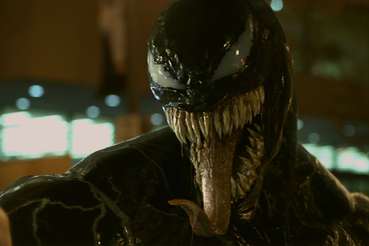 """In """"Venom,"""" reporter Eddie Brock develops superpowers after becoming a host to an alien parasite."""