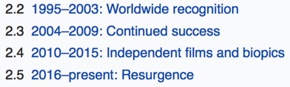 Screenshot of Nicole Kidman's Wikipedia page showing sections called worldwide recognition, continued success, independent films and biopics, and resurgence