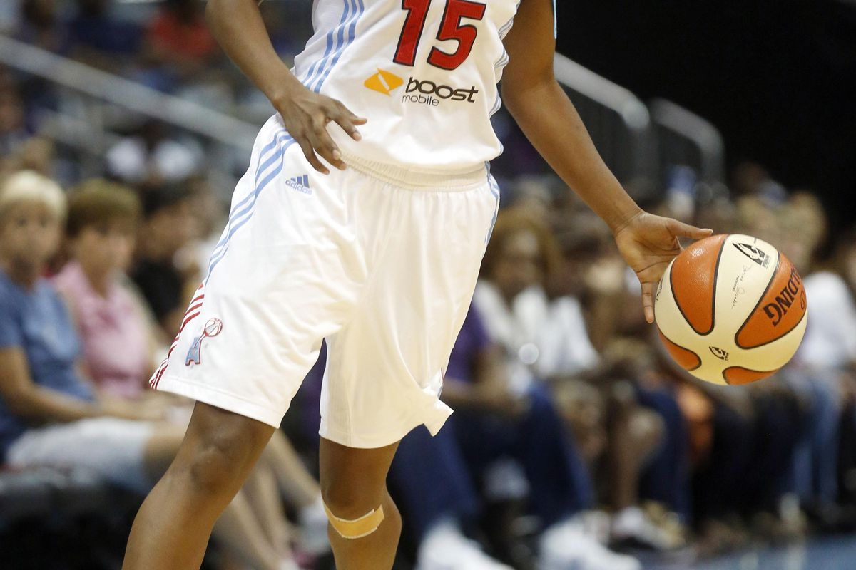 Sep 2, 2012; Atlanta, GA, USA; Atlanta Dream guard Tiffany Hayes (15) takes the ball down the court during the fourth quarter against the Connecticut Sun at Philips Arena. The Dream defeated the Sun 87-80. Mandatory Credit: Josh D. Weiss-US PRESSWIRE
