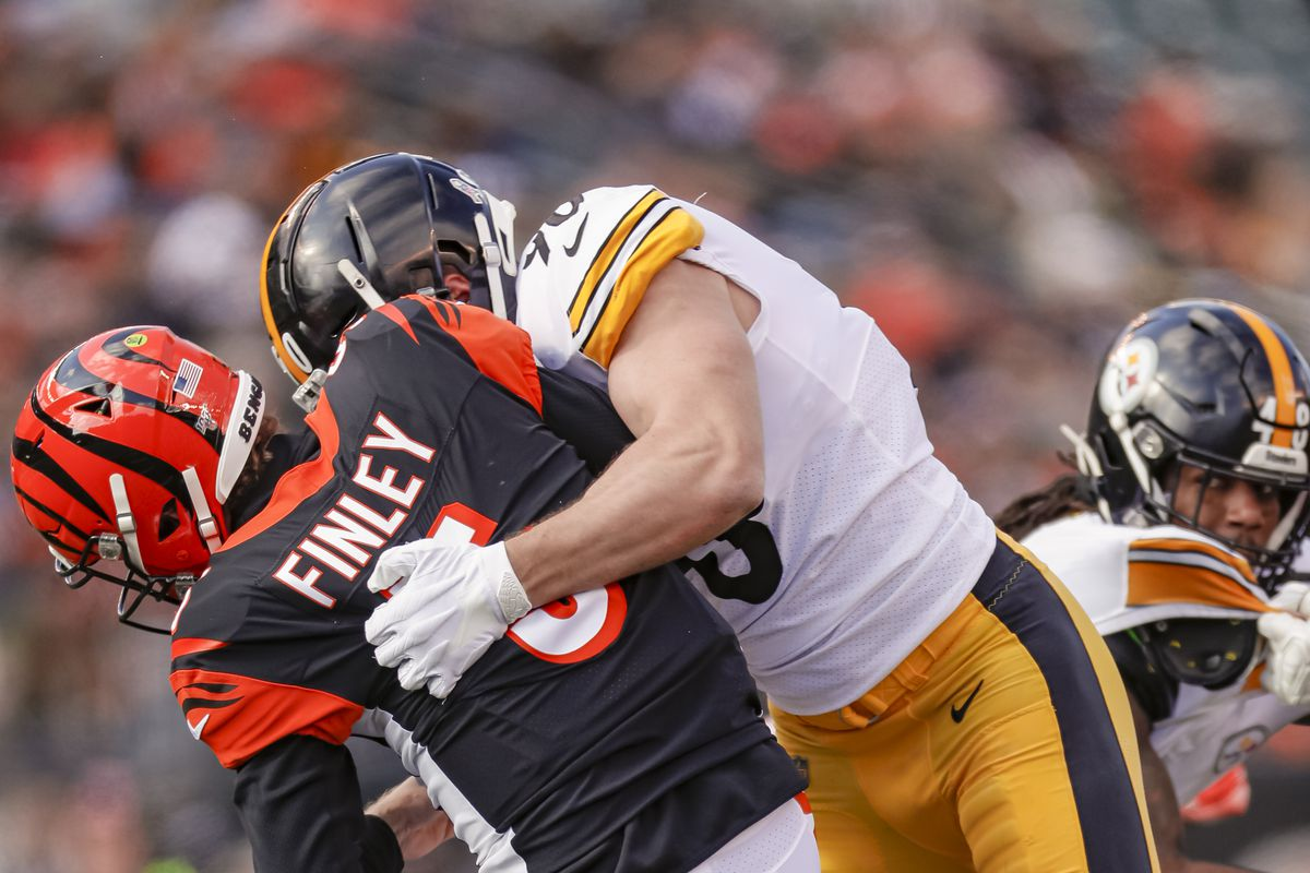 T.J. Watt of the Pittsburgh Steelers makes a sack on Ryan Finley of the Cincinnati Bengals during the first half at Paul Brown Stadium on November 24, 2019 in Cincinnati, Ohio.