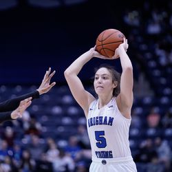 BYU's Maria Albiero looks to pass the ball to one of her teammates during the Cougars' 65-54 win over Pacific at the Marriott Center in Provo on Saturday, Feb. 15, 2020.