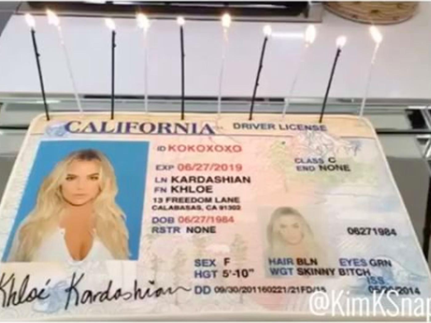 Eater A With Cake Driver's Kardashian Celebrates Khloé - License Her Divorce