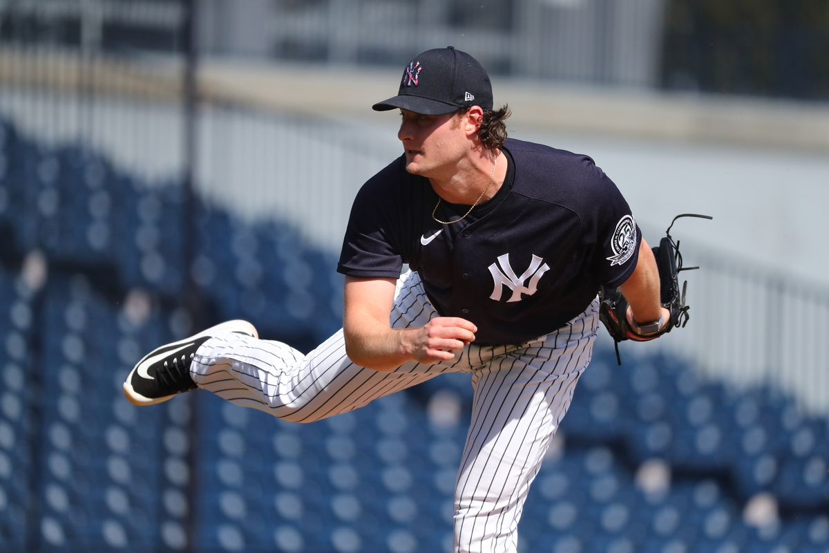 New York Yankees starting pitcher Gerrit Cole throws during a live batting practice at spring training at George M. Steinbrenner Field.