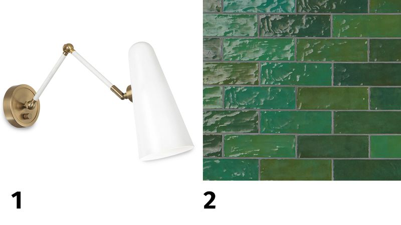 Spring 2021, Before & After Bath: Same Space, Fresh Look, articulating wall sconce, tub surround tile