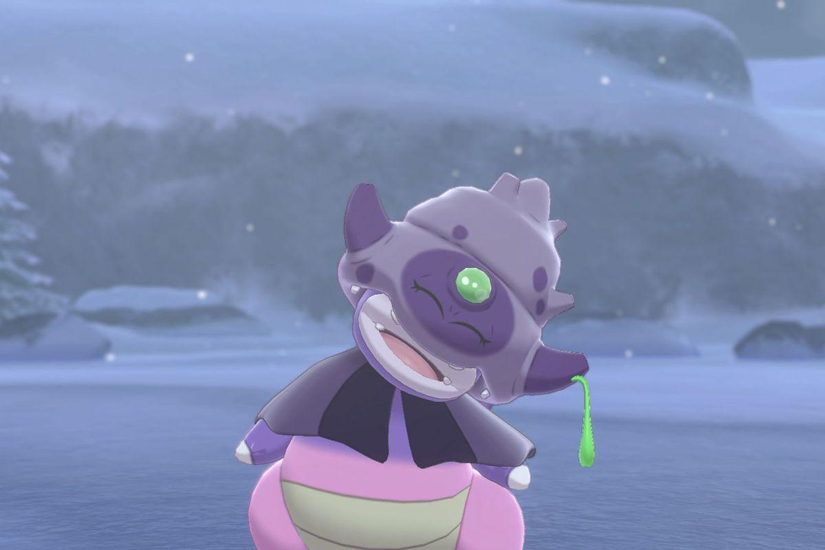 A screenshot of a sleepy looking Galarian Slowking from Pokémon Sword/Shield