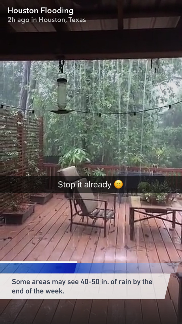Screenshot of a Snapchat video showing torrential rain during Tropical Storm Harvey
