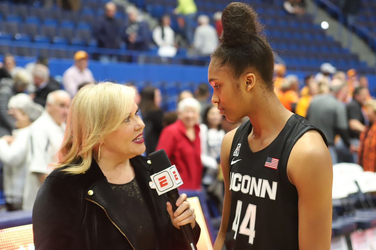 Aubrey Griffin speaking with ESPN's Holly Rowe after the win over Tennessee.