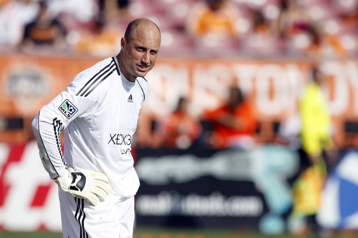 HOUSTON - OCTOBER 23:  Goalkeeper Kasey Keller #18 of the Seattle Sounders looks on during a stoppage in play during play against the Houston Dynamo at Robertson Stadium  on October 23 2010 in Houston Texas.  (Photo by Bob Levey/Getty Images)