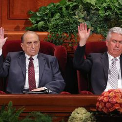 President Thomas S. Monson, left, and second counselor President Dieter F. Uchtdorf during the sustaining vote at the afternoon session of the 183rd Semiannual General Conference of The Church of Jesus Christ of Latter-day Saints Saturday, Oct. 5, 2013, in Salt Lake City.