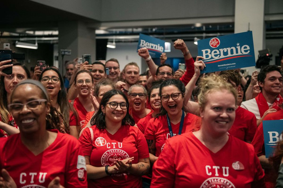 CHICAGO, IL - SEPTEMBER 24: Supporters cheer for Democratic presidential candidate Sen. Bernie Sanders (I-VT) speak at a rally in support of the Chicago Teachers Union ahead of an upcoming potential strike.