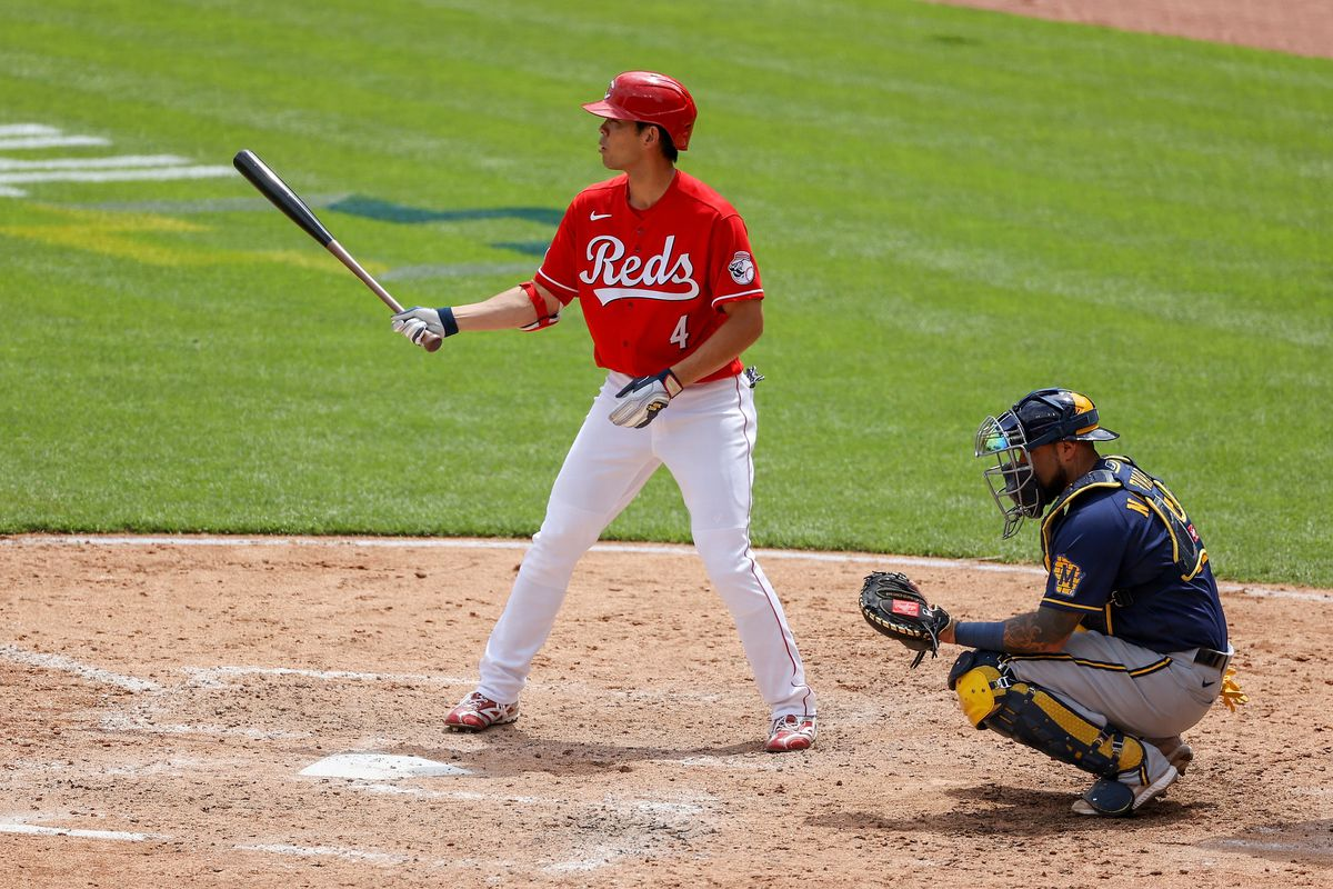 Shogo Akiyama #4 of the Cincinnati Reds bats in the fifth inning against the Milwaukee Brewers at Great American Ball Park on May 23, 2021 in Cincinnati, Ohio.