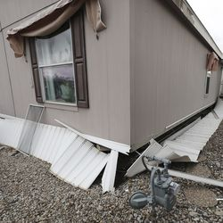 Damage to a mobile home at Western Estates is pictured after a 5.7 magnitude earthquake centered in Magna hit on Wednesday, March 18, 2020.