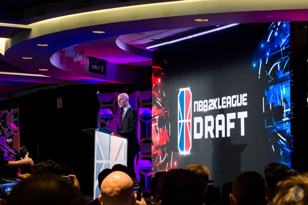 NBA Commissioner Adam Silver giving opening remarks at the inaugural NBA 2K League Draft