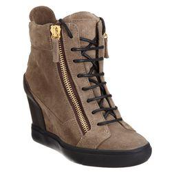 "<b>Giuseppe Zanotti</b> Wedge Zip Sneaker, <a href=""http://www.barneys.com/Giuseppe-Zanotti-Wedge-Zip-Sneaker/502097626,default,pd.html?cgid=womens-shoes&index=40"">$595</a>"