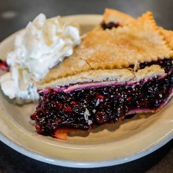 Mixed berry pie at Loula's Cafe at Whitefish, Montana