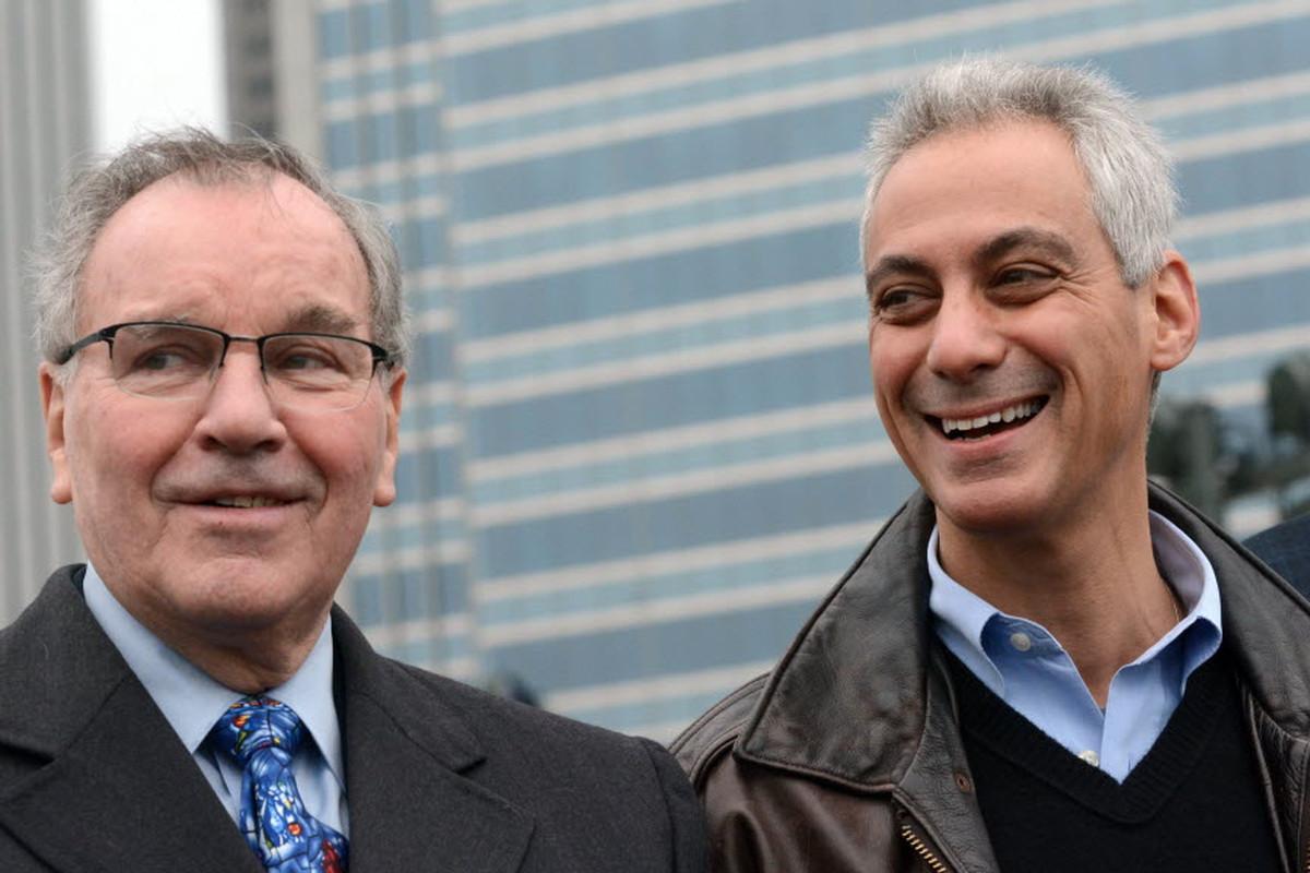 Mayor Daley and Mayor Emanuel at the opening of the skating ribbon at the new Maggie Daley Park. Saturday, December 13, 2014.