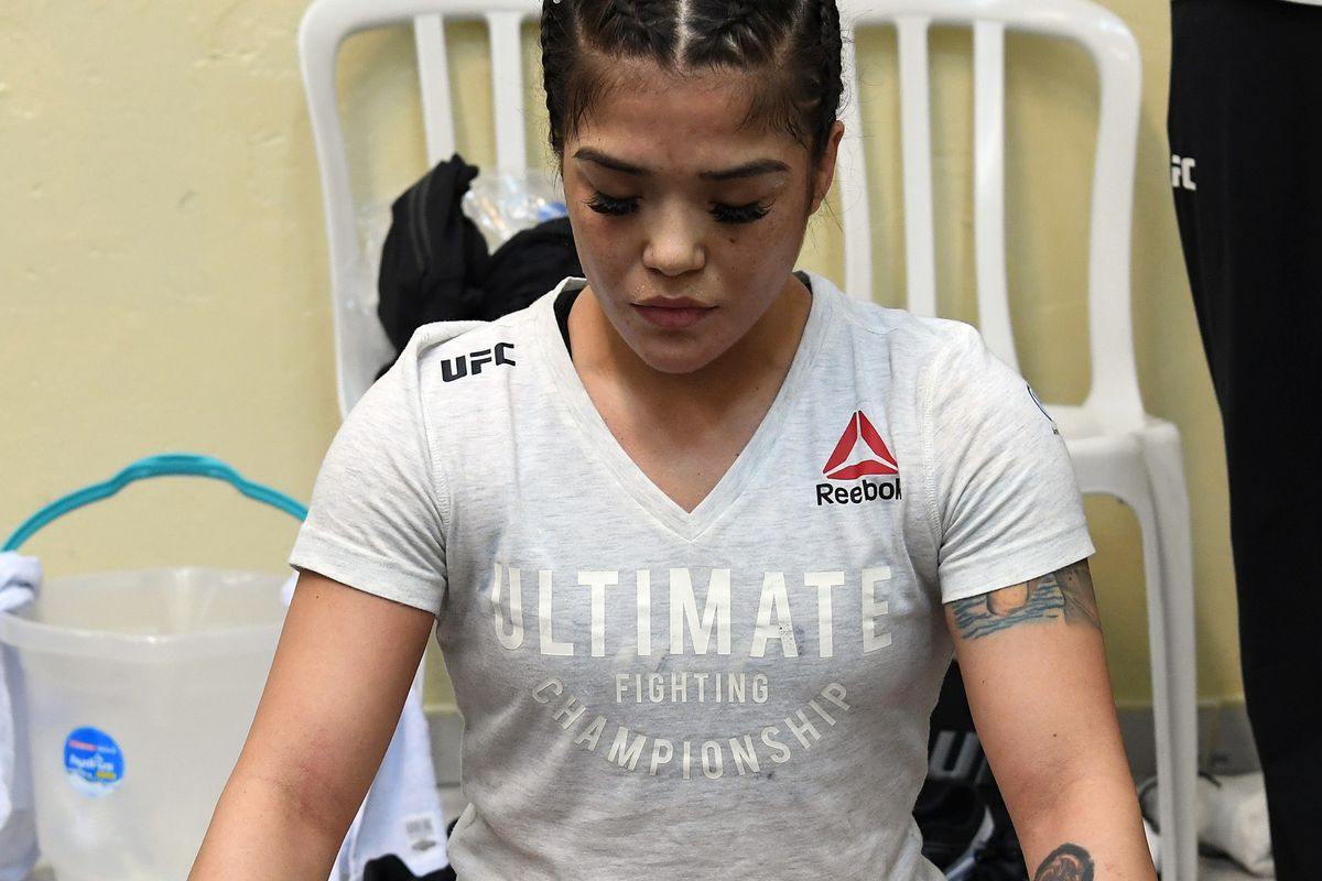 Tracy Cortez warms up prior to her fight during the UFC Fight Night event at Ibirapuera Gymnasium on November 16, 2019 in Sao Paulo, Brazil.