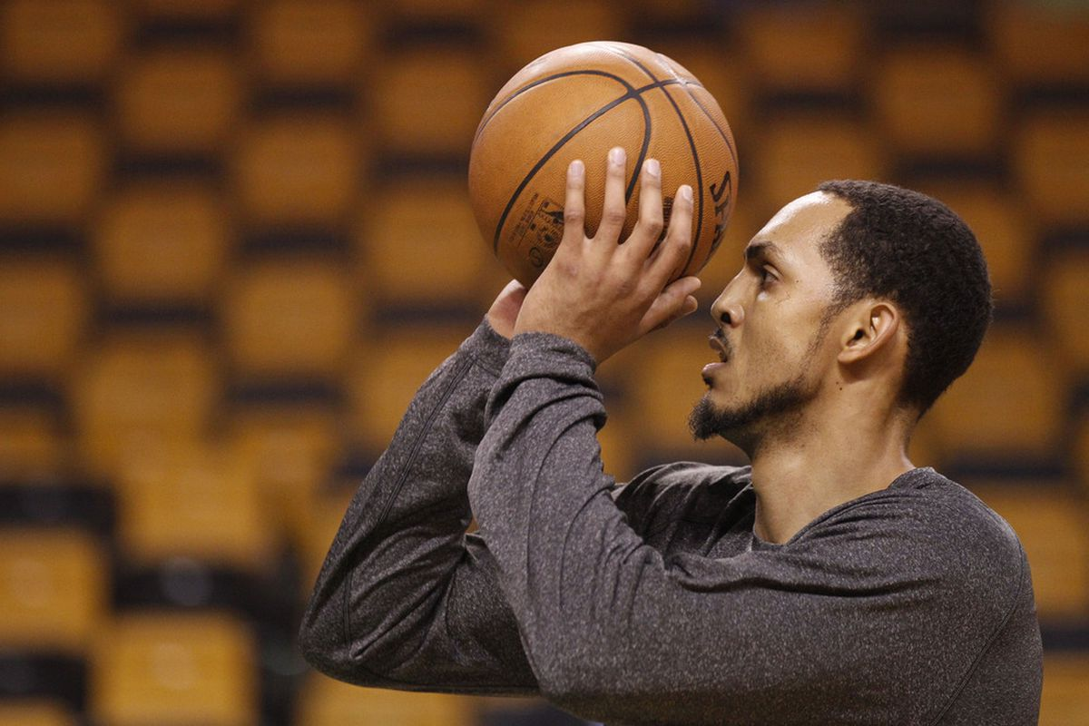 Apr 11, 2012; Boston, MA USA; Boston Celtics center Ryan Hollins (50) warms up before the start of the game against the Atlanta Hawks at the TD Banknorth Garden. Mandatory Credit: David Butler II-US PRESSWIRE