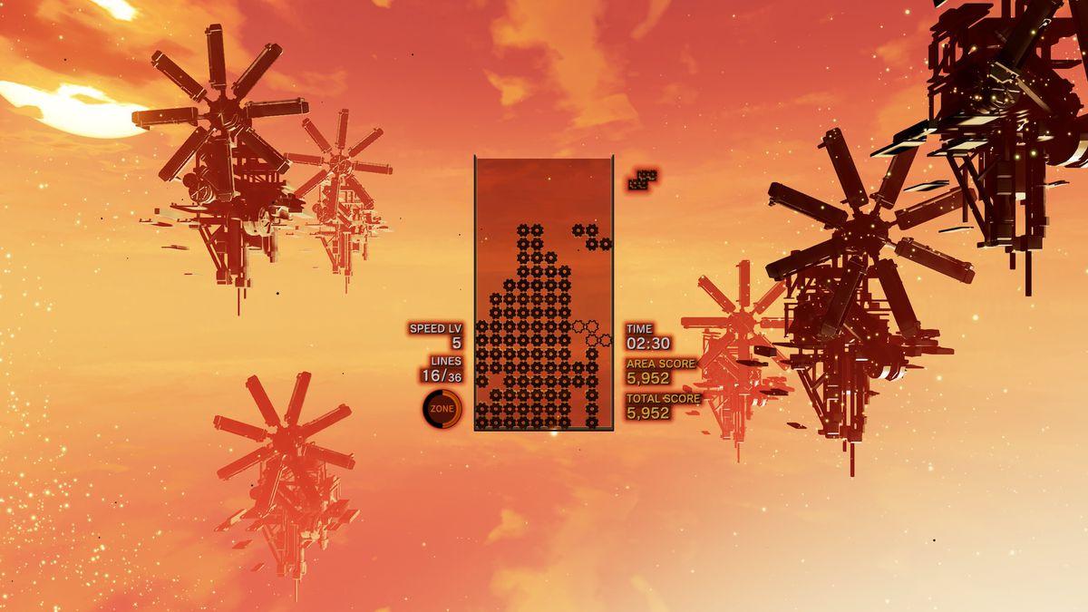 Tetris Effect - floating windmills on orange sky