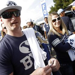 Jason and Stephanie Hicken take part in the tailgate party prior to the game as BYU and Utah get set to play Saturday, Sept. 17, 2011 at Lavell Edwards Stadium.