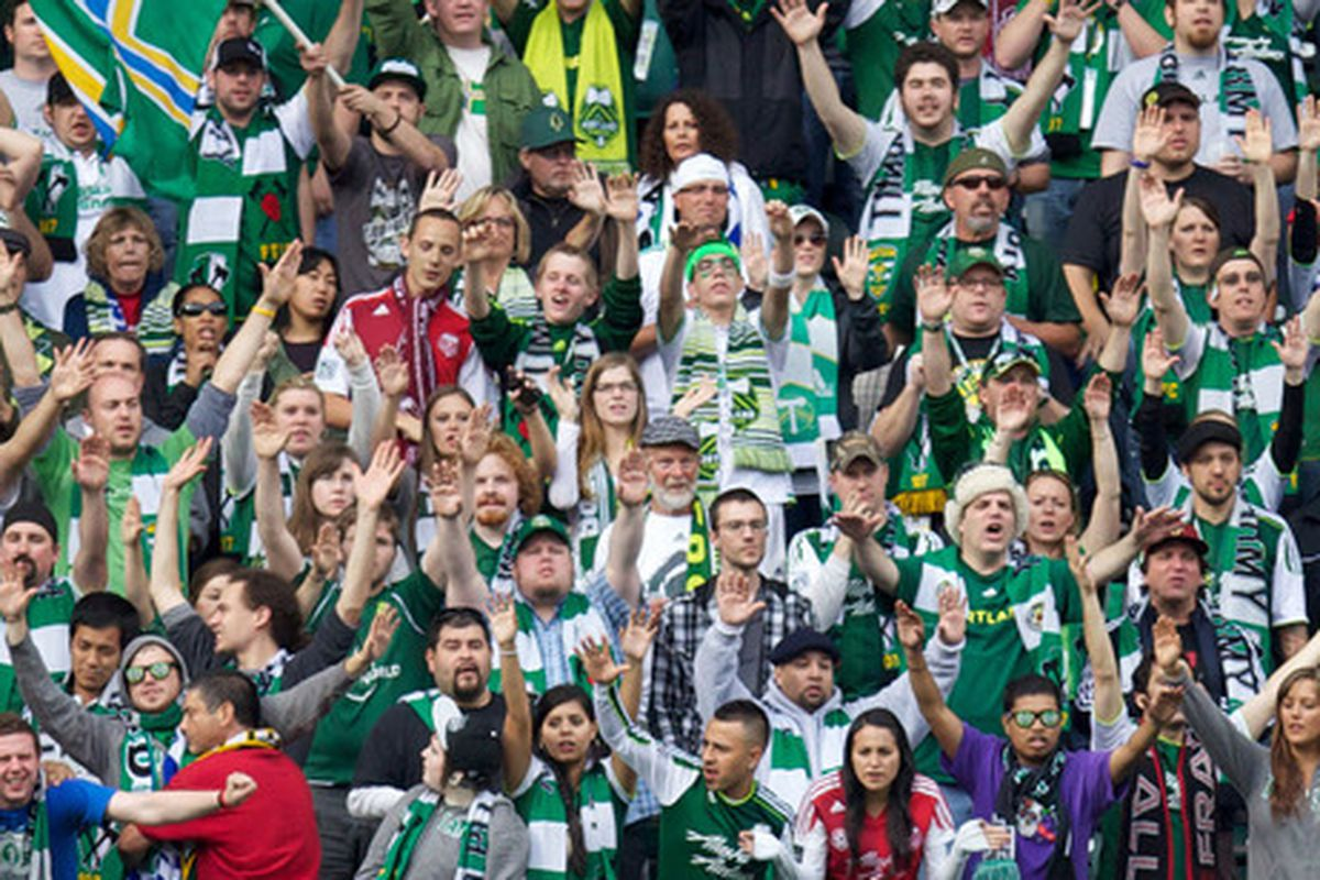We don't have any pictures of the academy kids, so here are the Timbers Army.