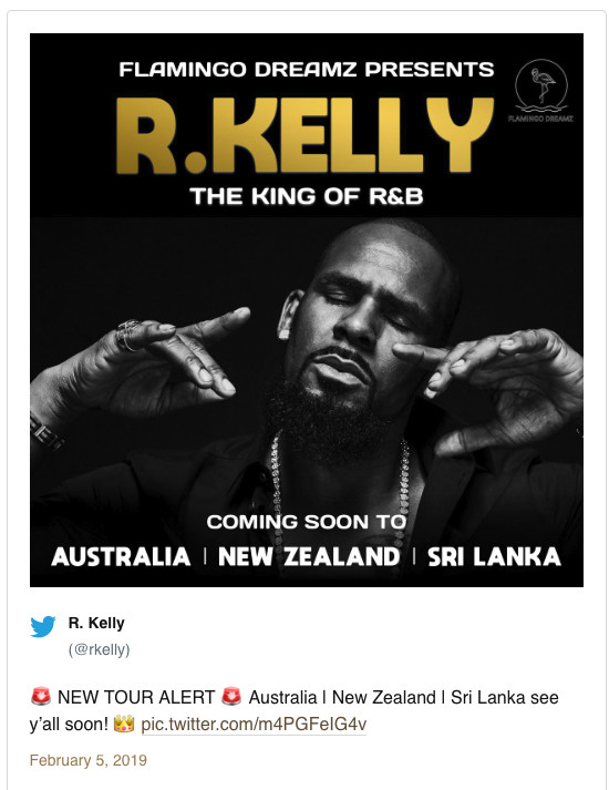 The now-deleted R. Kelly tweet about an international tour. | Screenshot from Twitter