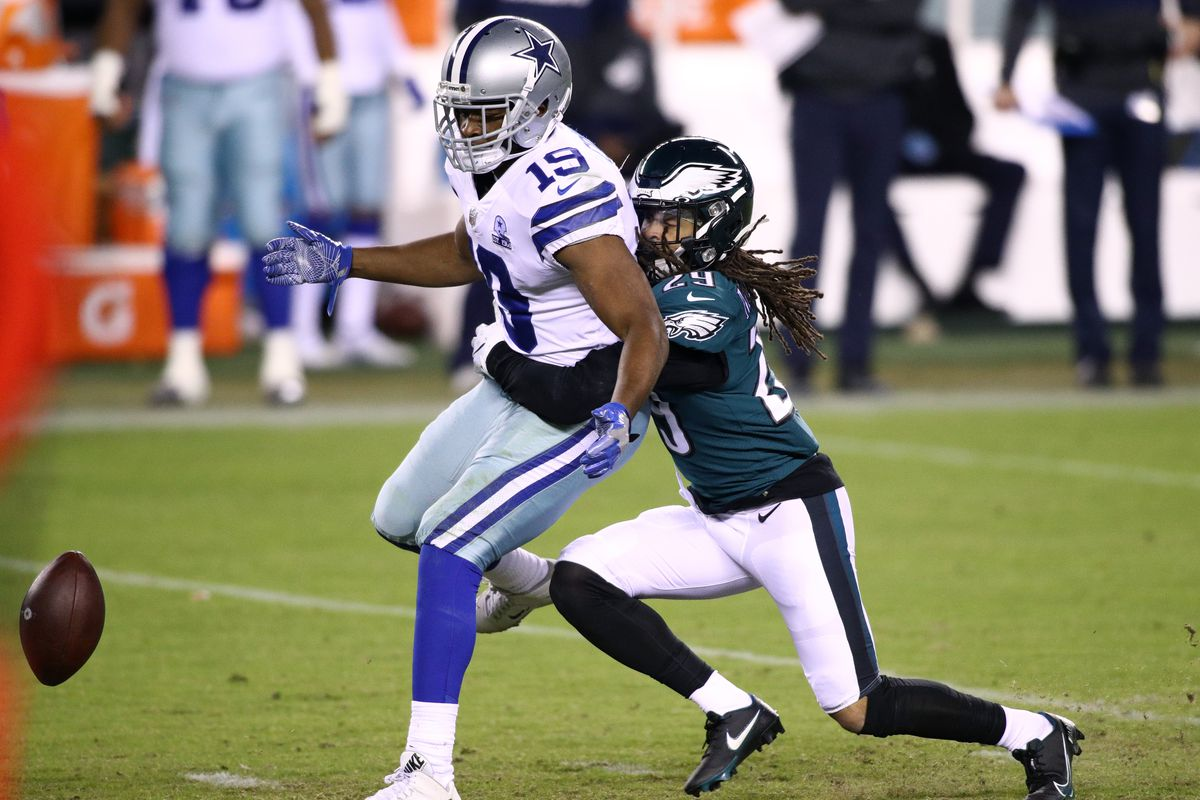 Philadelphia Eagles Cornerback Avonte Maddox (29) defends a pass to Dallas Cowboys Wide Receiver Amari Cooper (19) in the second half during the game between the Dallas Cowboys and Philadelphia Eagles on November 01, 2020 at Lincoln Financial Field in Philadelphia, PA.