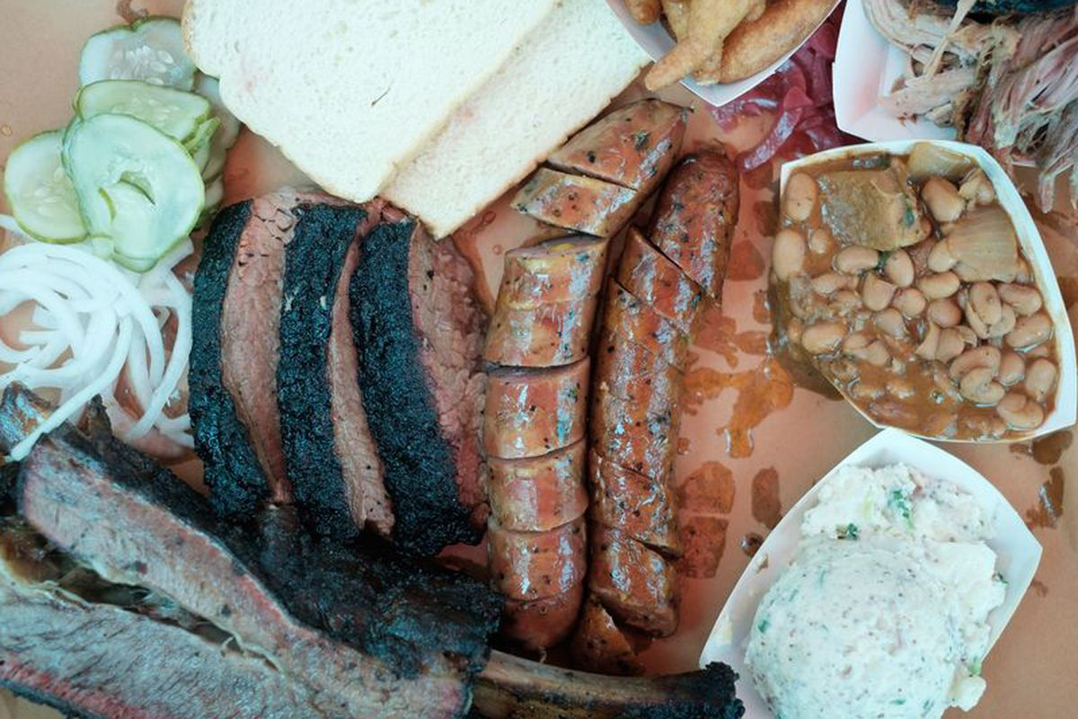 Spread from Lewis Barbecue.