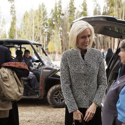 Sister Joy D. Jones, Primary general president of The Church of Jesus Christ of Latter-day Saints, greets Hinckley Scout Ranch workers at a dedication ceremony for the Thomas S. Monson Lodge in the Uinta Mountains on Wednesday, Oct. 5, 2016.