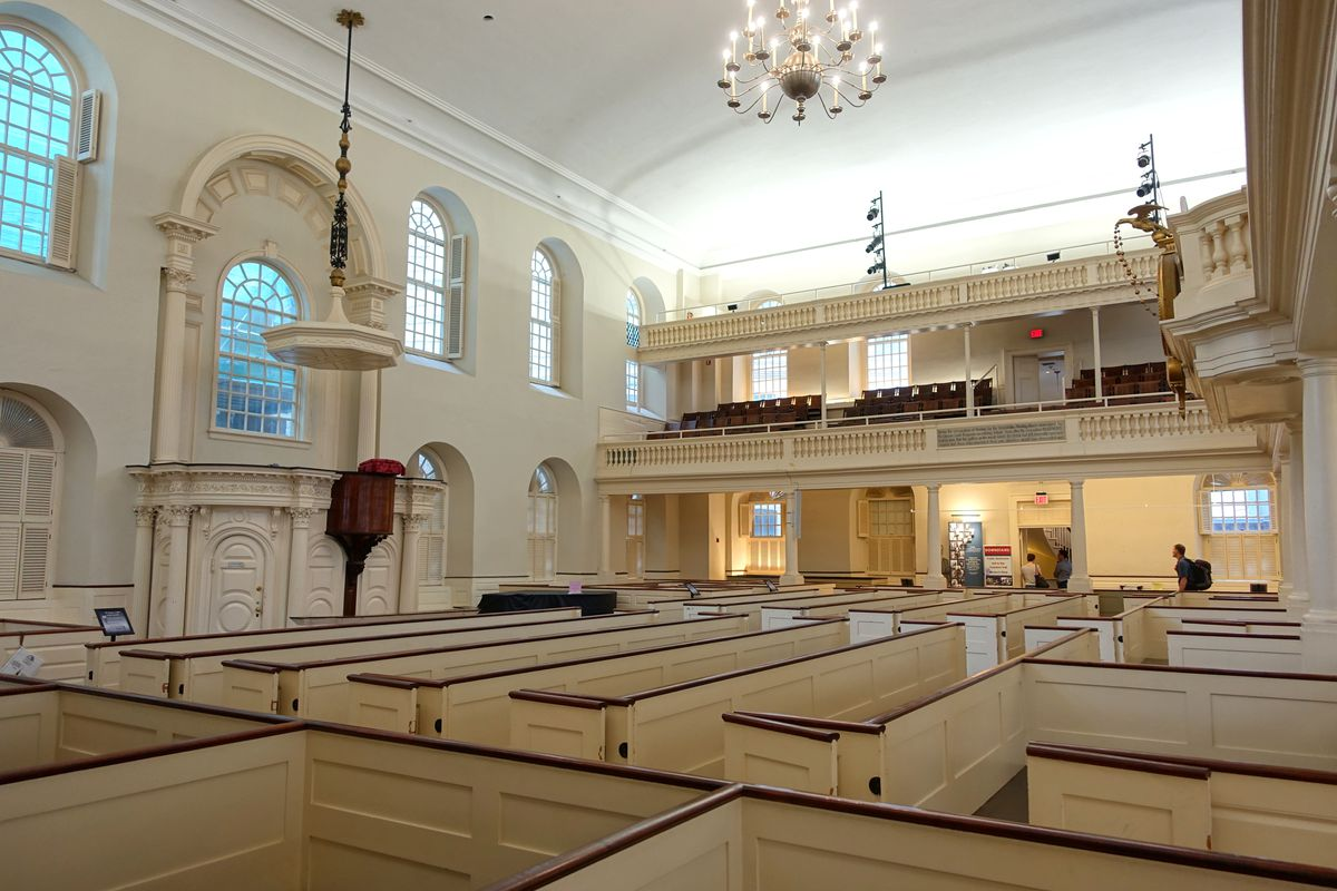 The church-like interior of the Old South Meeting House in Boston.