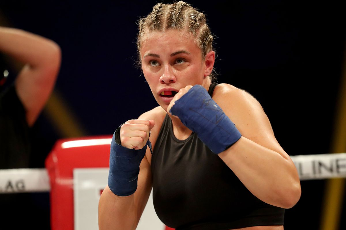 Paige Van Zant is seen as she fights Britain Hart during the BKFC KnuckleMania event at RP Funding Center on February 6, 2021 in Tampa, Florida.