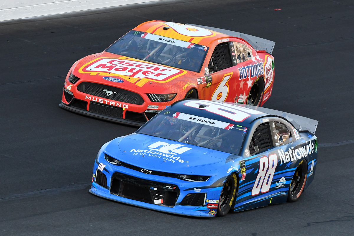 Monster Energy NASCAR Cup Series driver Ryan Newman (6) runs with Monster Energy NASCAR Cup Series driver Alex Bowman (88) during the Monster Energy Coca Cola 600 on May 26, 2019 at Charlotte Motor Speedway in Concord,NC.
