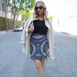 """Emily of <a href=""""http://cupcakesandcashmere.com/"""">Cupcakes and Cashmere</a> is wearing <a href=""""http://www.revolveclothing.com/DisplayProduct.jsp?product=KWAL-WG18"""">Karen Walker</a> sunglasses, a Coach trench coat, a <a href=""""http://www.shopbop.com/class"""