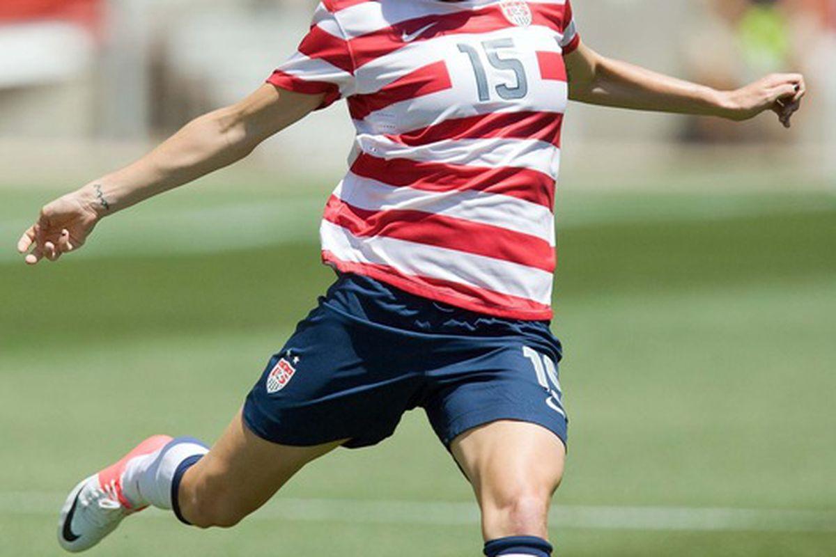 June 30, 2012;  Sandy, UT, USA; USA midfielder Megan Rapinoe (15) during the first half against Canada at Rio Tinto Stadium. Mandatory Credit: Russ Isabella-US PRESSWIRE