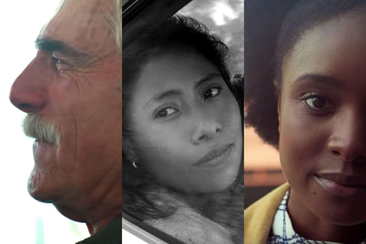 Sam Elliott in A Star Is Born, Yalitza Aparicio in Roma, and Kiki Layne in If Beale Street Could Talk.