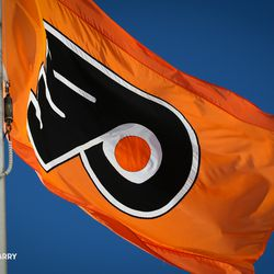 A Flyers flag blows in the gusts outside of the Farg- circa 2017