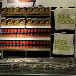 Everything you eat upstairs you'll be able to find in the marketplace downstairs. The first 100 customers on Friday will receive a bag that they can fill to the brim with IKEA's canned goods, dairy products, frozen meals and apple cider.