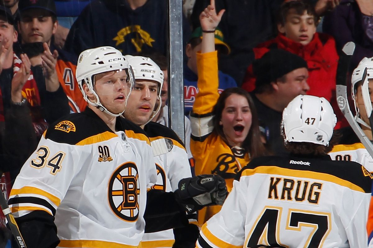 Carl Soderberg, Milan Lucic, Torey Krug, and one ecstatic fan relish the second Swedish goal.