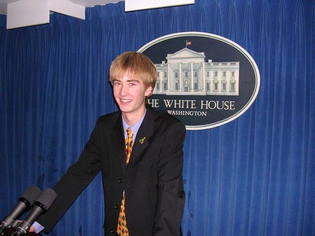 Peter Doocy is pictured in the White House briefing room in Washington on Dec. 16, 2004.
