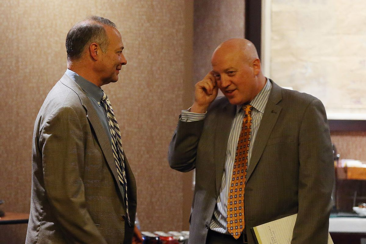 DEC 05: Steve Fehr of the NHLPA and Bill Daly of the NHL discuss CBA negotiations at the Westin Times Square in New York