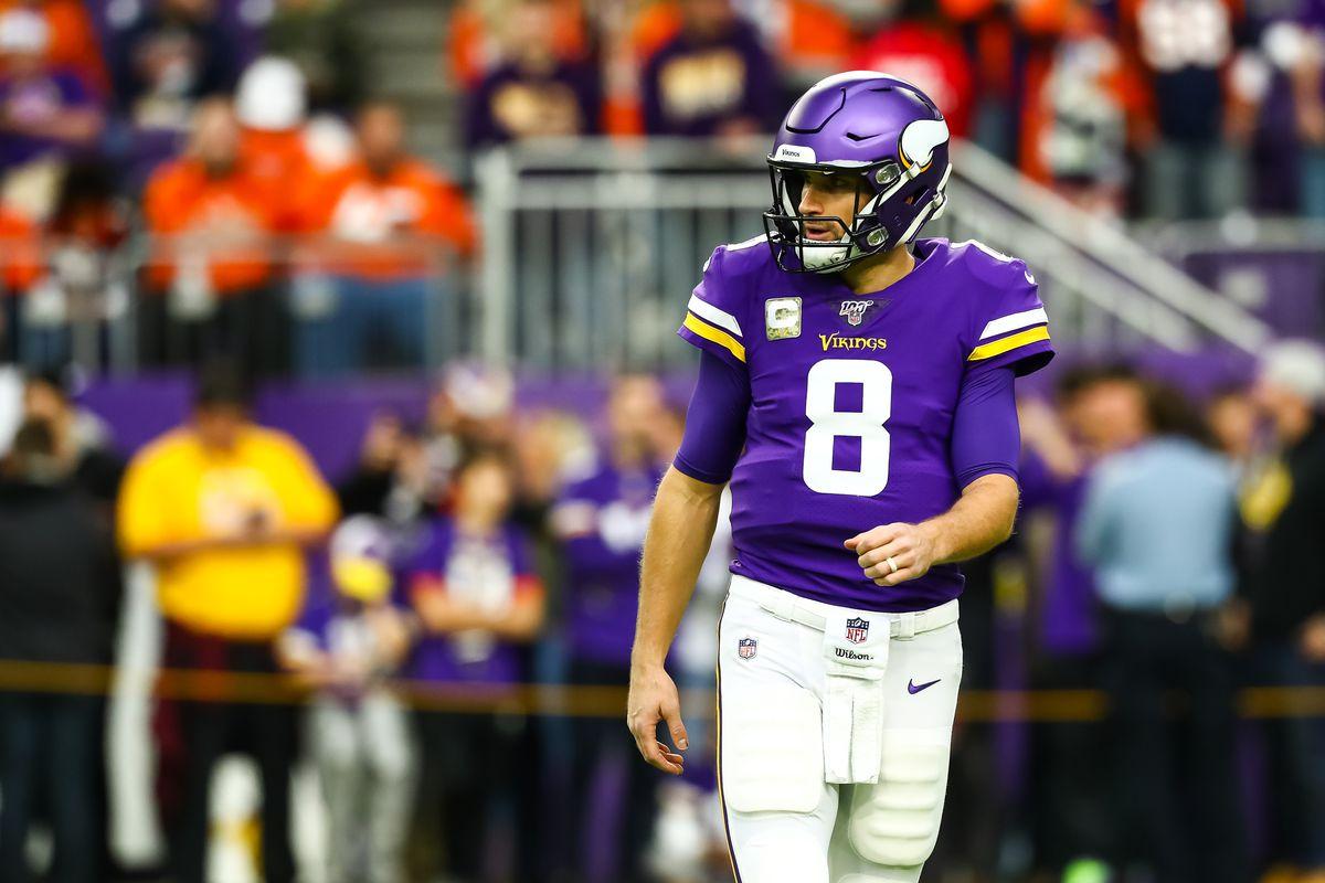 Minnesota Vikings QB Kirk Cousins warming up before the Week 11 game against the Denver Broncos, Nov. 17, 2019.