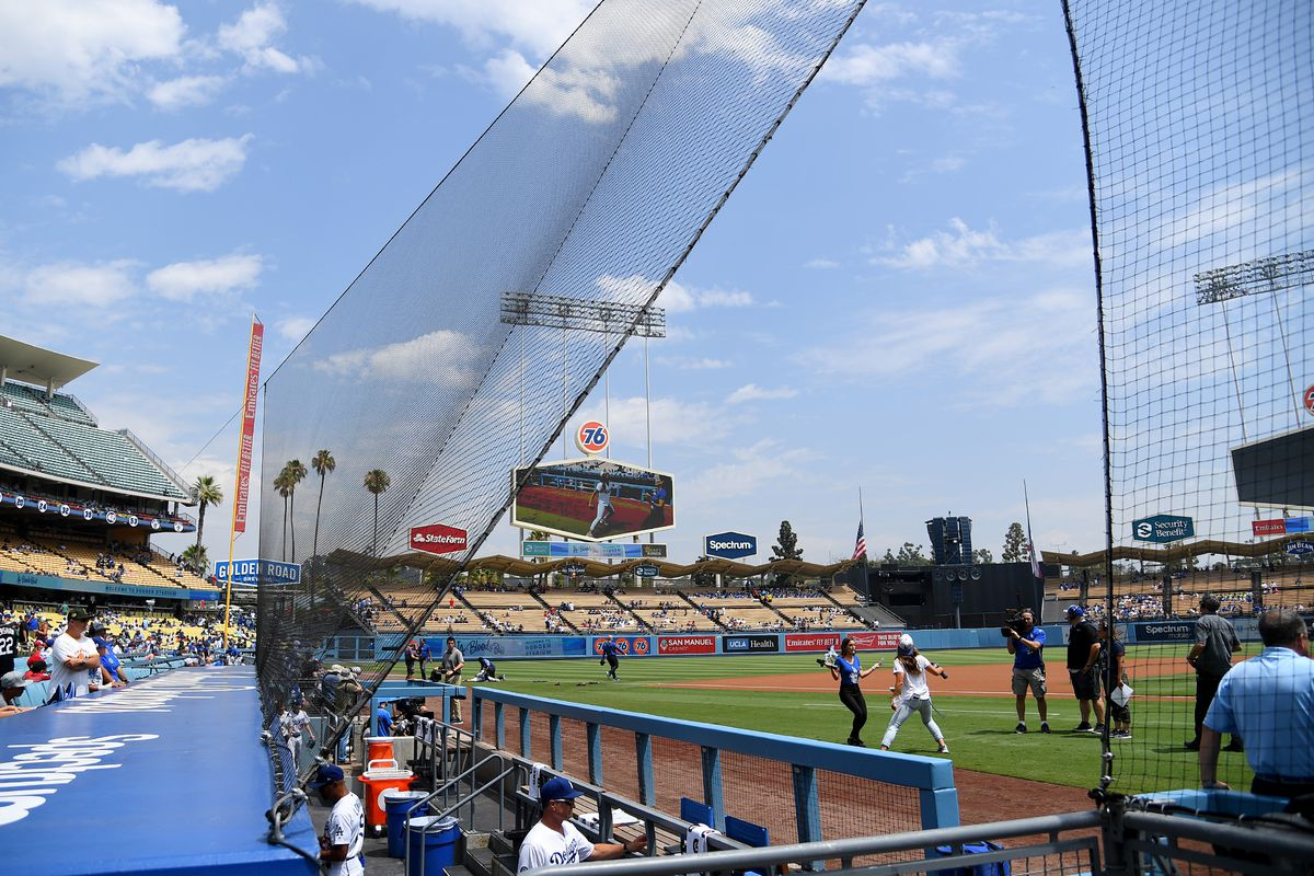 General view of the netting above the Los Angeles Dodgers dugout during the game against the St. Louis Cardinals in the ninth inning at Dodger Stadium on August 7, 2019 in Los Angeles, California.