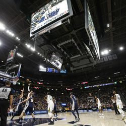 The Utah Jazz play the Denver Nuggets in the new Vivint Arena in Salt Lake City on Wednesday, Oct. 18, 2017.