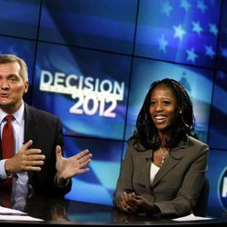 4th Congressional District candidates Rep. Jim Matheson and Saratoga Springs Mayor Mia Love participate in their second debate on KSL 5 News in Salt Lake City on Thursday, Sept. 27, 2012.