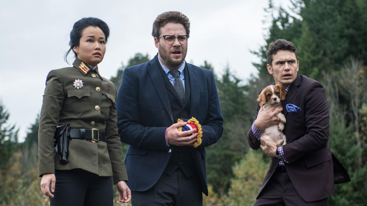 Diana Bang portrays a North Korean officer in The Interview, with Seth Rogen and James Franco (Sony Pictures)