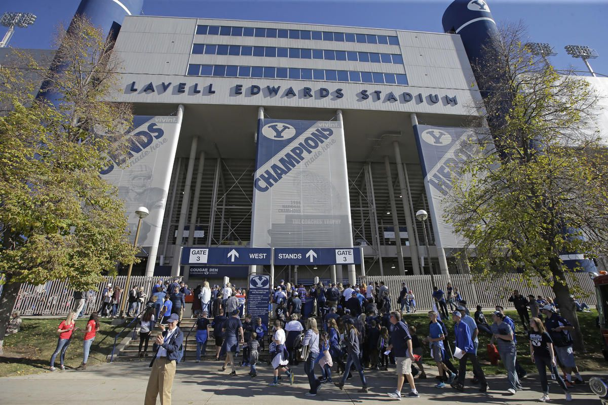 Fans enter LaVell Edwards Stadium during an NCAA college football game between Southern Utah and BYU Saturday, Nov. 12, 2016, in Provo, Utah. (AP Photo/Rick Bowmer)