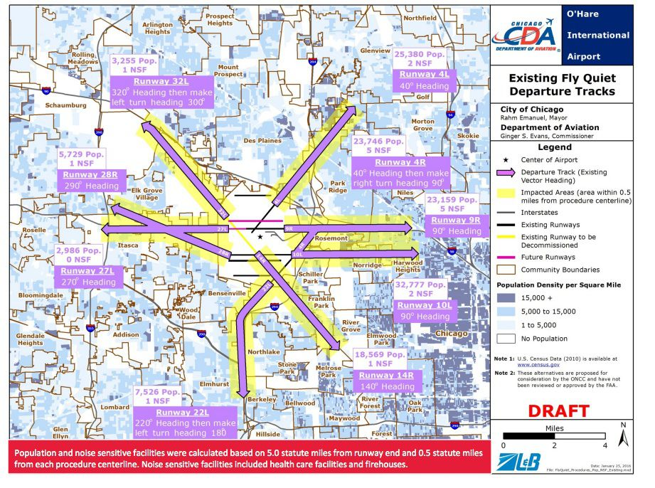 Nine existing night flight paths for departing O'Hare jets. Source: Chicago Aviation Department
