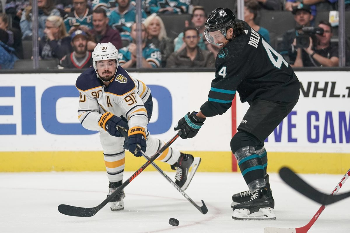 Buffalo Sabres left wing Marcus Johansson (90) and San Jose Sharks defenseman Brenden Dillon (4) fight for control of the puck during the first period at SAP Center at San Jose.